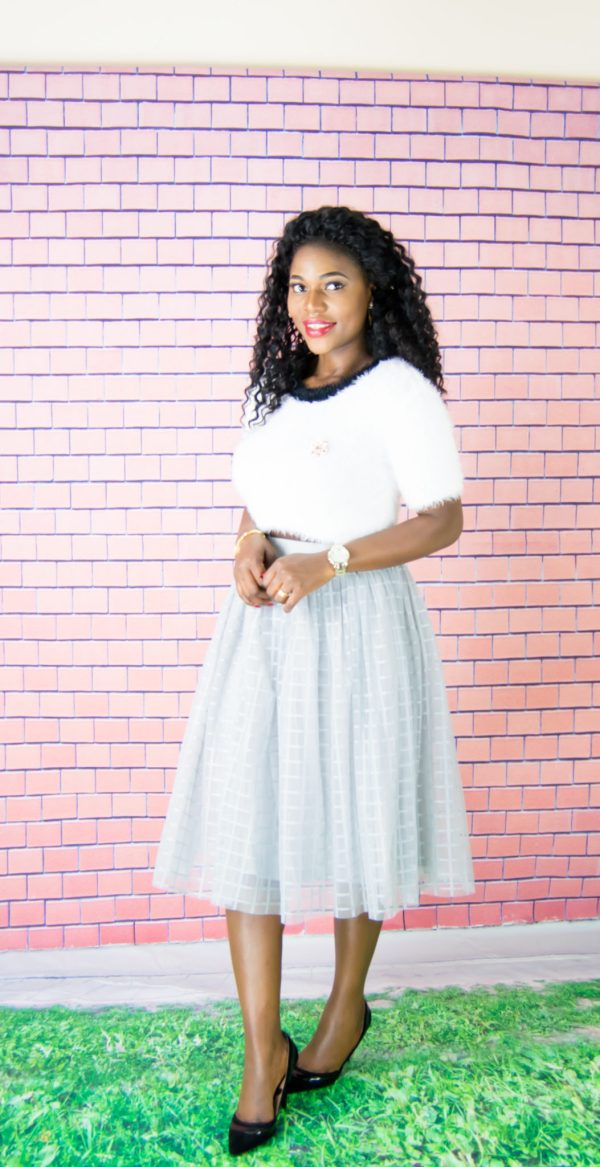 grey tulle midi skirt
