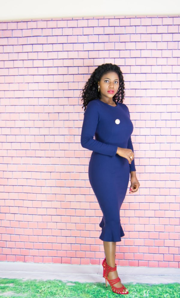 navy midi dress outfit