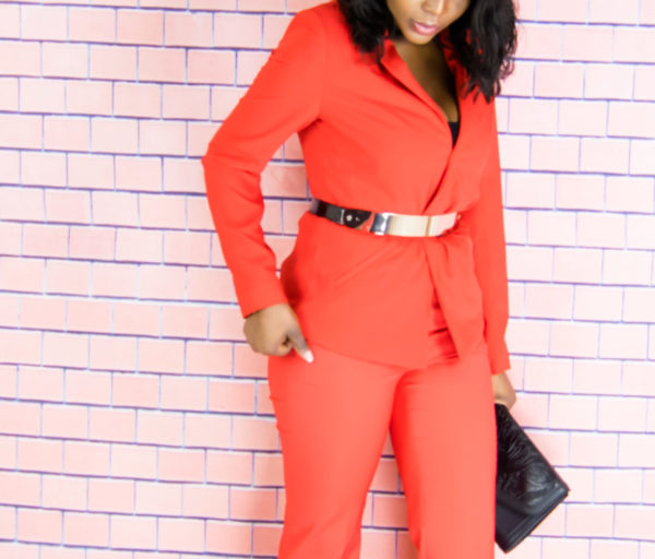 red suit outfit