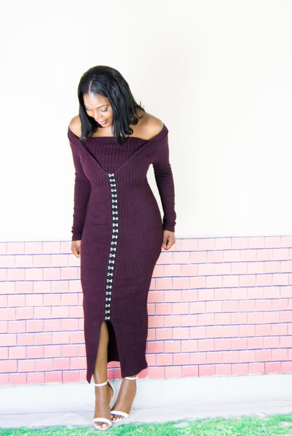 plum dress outfit