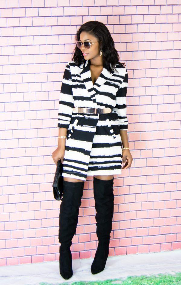striped jacket dress