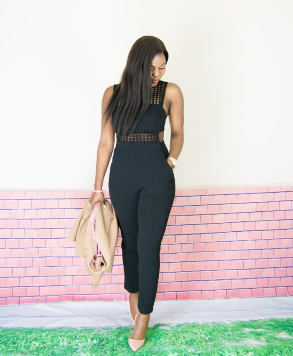 all black caged jumpsuit