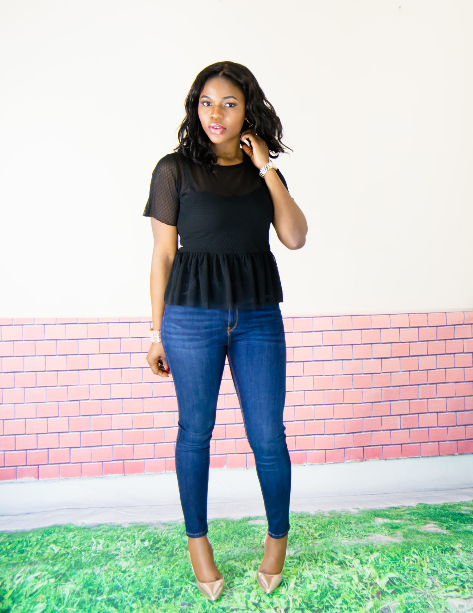 sheer peplum top on high-waisted jeans - WishfulElegance