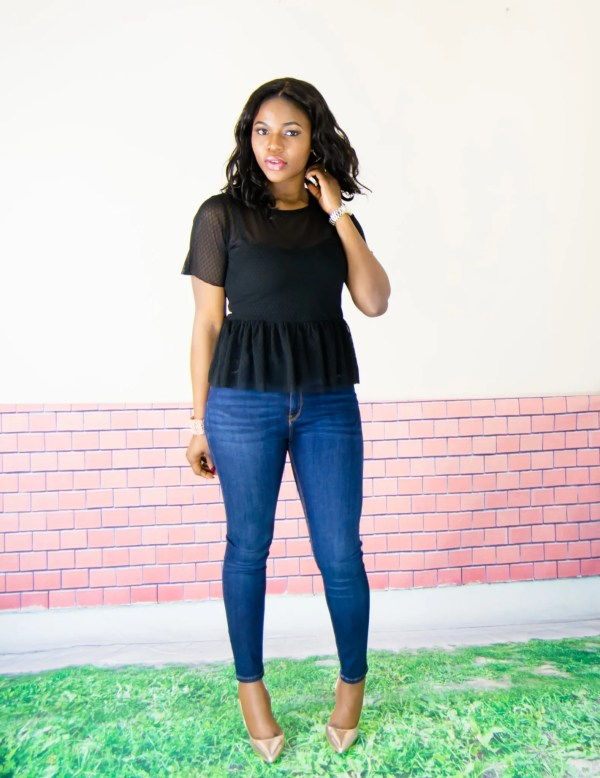 sheer peplum top