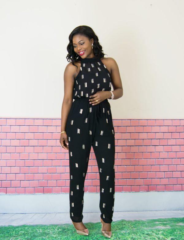 embellished black jumpsuit
