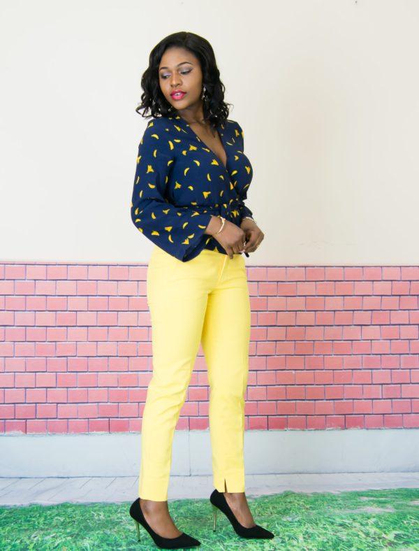 printed warp blouse