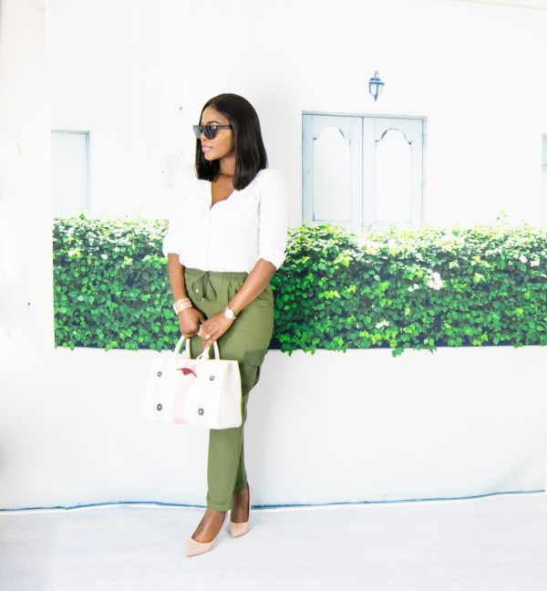 khaki and white outfit