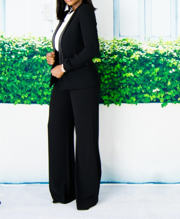 wide leg trousers and blazer outfit