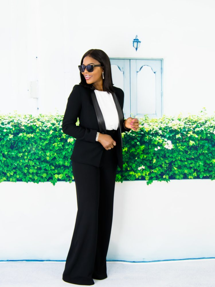 wide leg trousers + leather trim blazer