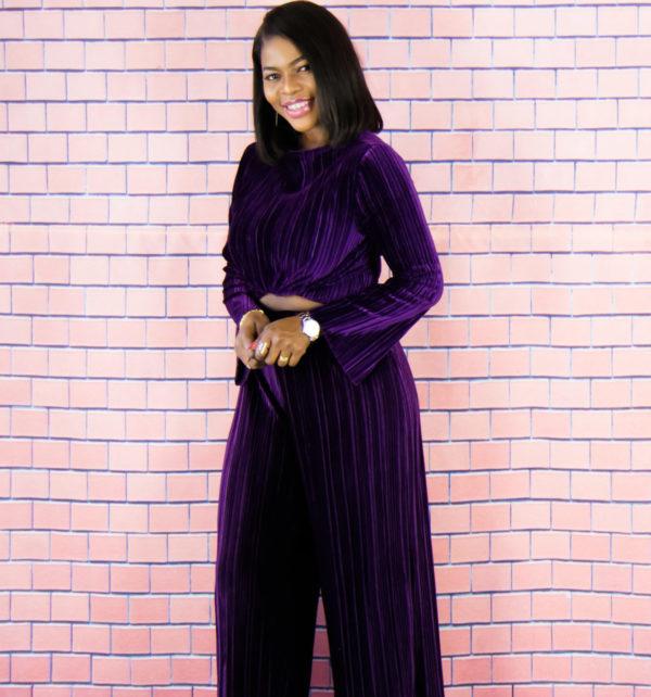 pleated velvet trousers