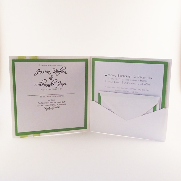 Pocket fold invitation featuring a lovely owl stamp on the right insert.