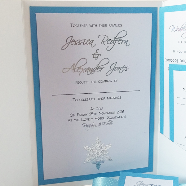 Winter pocketfold wedding invitations now available from our online shop.