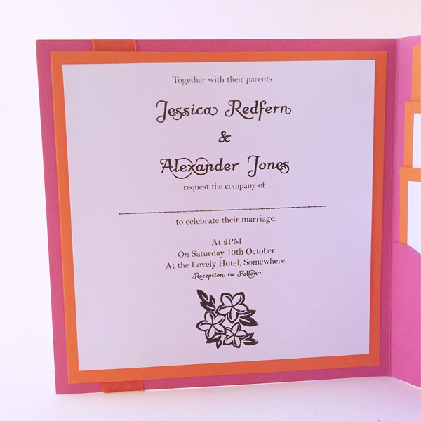 Summer pocketfold wedding invitations now available from our online shop.