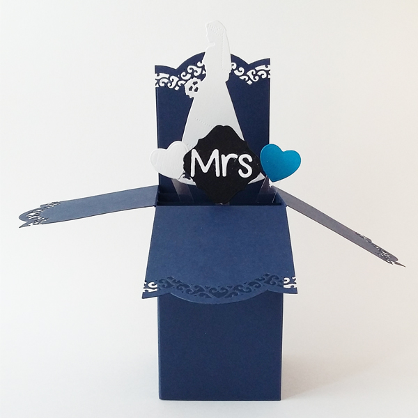 Pop-up box handmade bride and groom place cards.