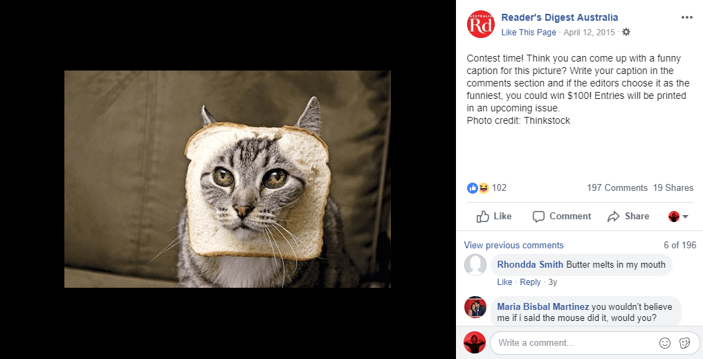 Readers Digest Facebook photo contest