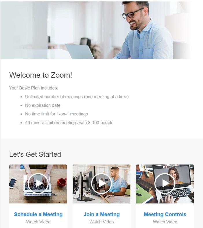 Zoom Email de bienvenue