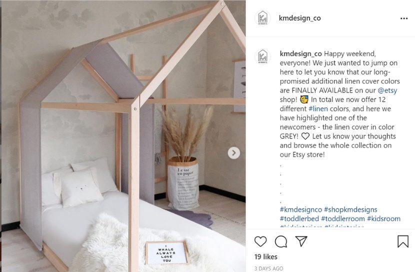 Etsy store Instagram post