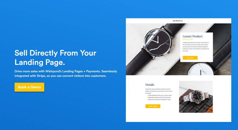 Wishpond Payments Landing Page