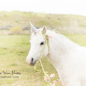 Romantic rainbow unicorn with floral vine bridle