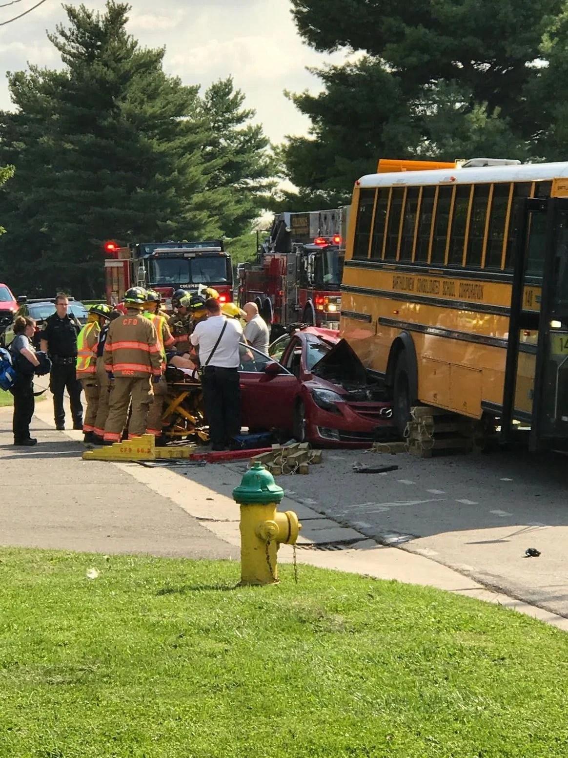 Columbus rear ended school bus_724189