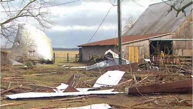 Storm-damaged farm in Jackson County, Indiana