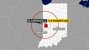 Earthquake centered in west central Indiana with 3.8 magnitude