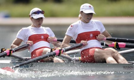 Canada's Lindsay Jennerich (L) and Canada's Patricia Obee compete to win the women's lightweight double sculls final B of the rowing event during the London 2012 Olympic Games, at Eton Dorney Rowing Centre in Eton, west of London, on August 4, 2012. AFP PHOTO / MANAN VATSYAYANA (Photo credit should read MANAN VATSYAYANA/AFP/GettyImages)