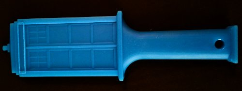 The TardAss paddle sitting on a black background horizontally. It is a paddle in the shape of the Tardis. This side shows all of the details.