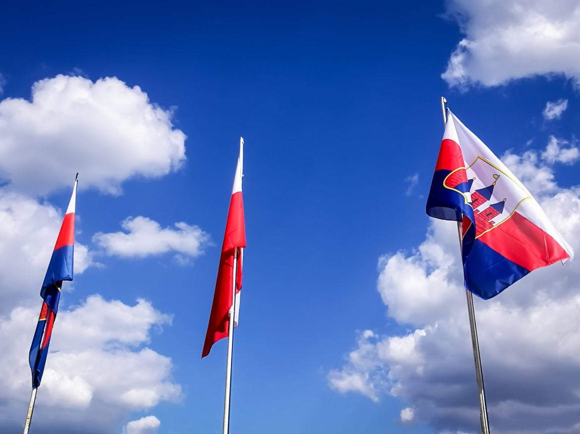 Flags of Poland and City of Bydgoszcz