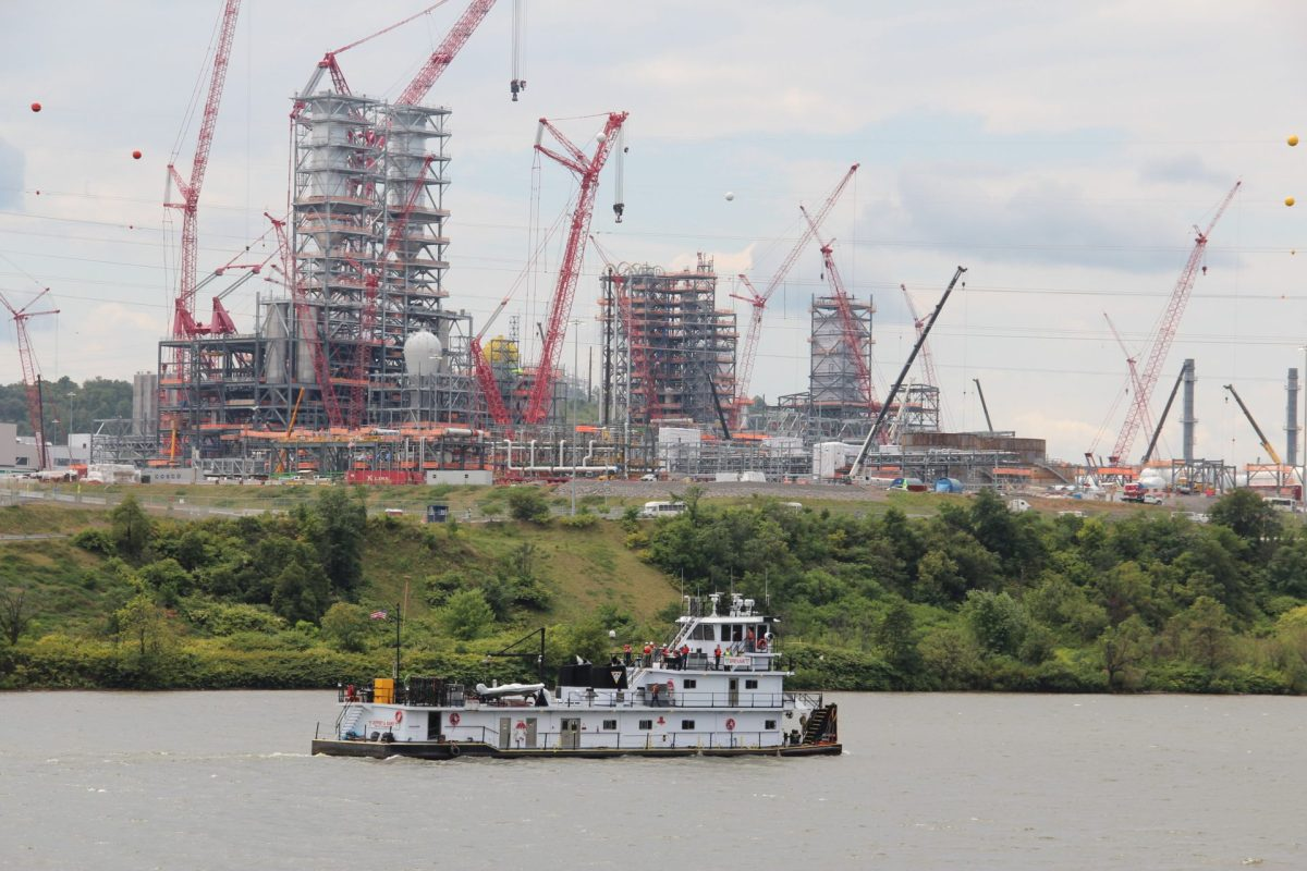 Shell's ethane cracker plant, under construction in June 2019, is seen from the Ohio River.