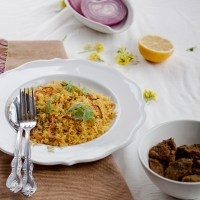 The Bengali Soul Food On A Rainy Day - Mung Bean Bhuna Khichuri With Pickled Onion