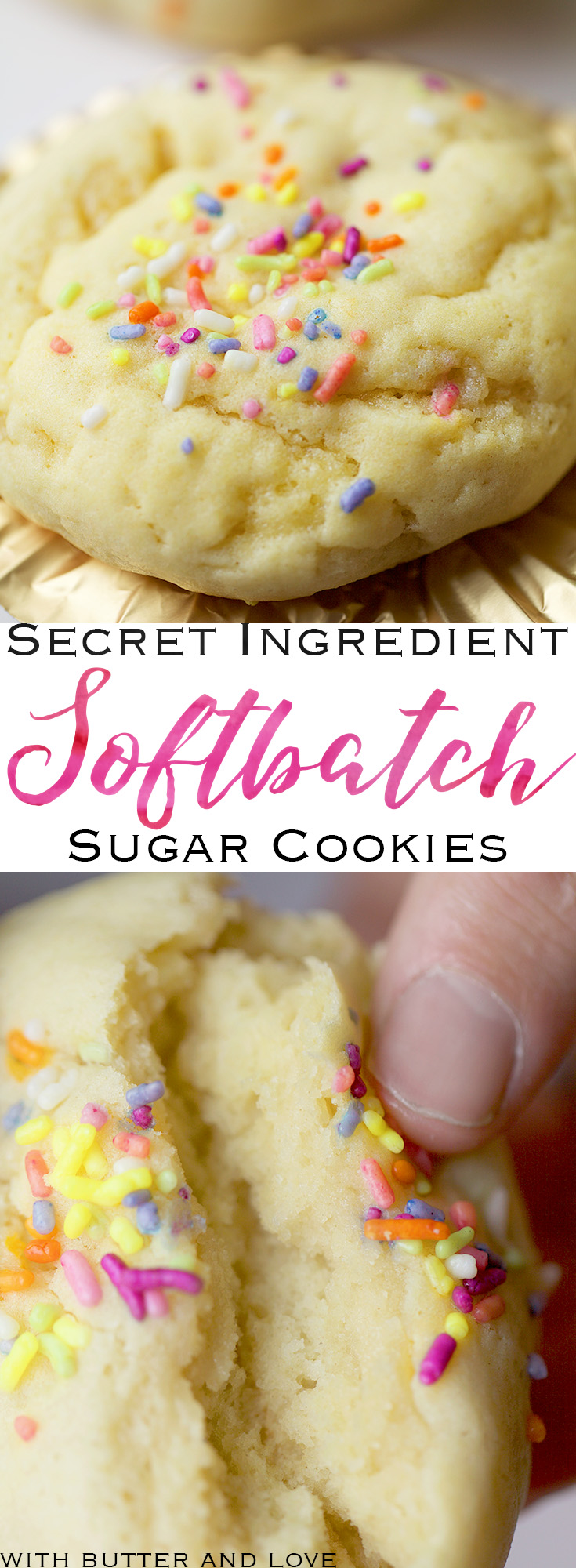 Secret Ingredient Softbatch Sugar Cookies || Ditch the highly refined vegetable oils for this secret ingredient that yields the same pillowy, softbatch sugar cookies that everyone loves! You will use this recipe over and over again! || www.withbutterandlove.com