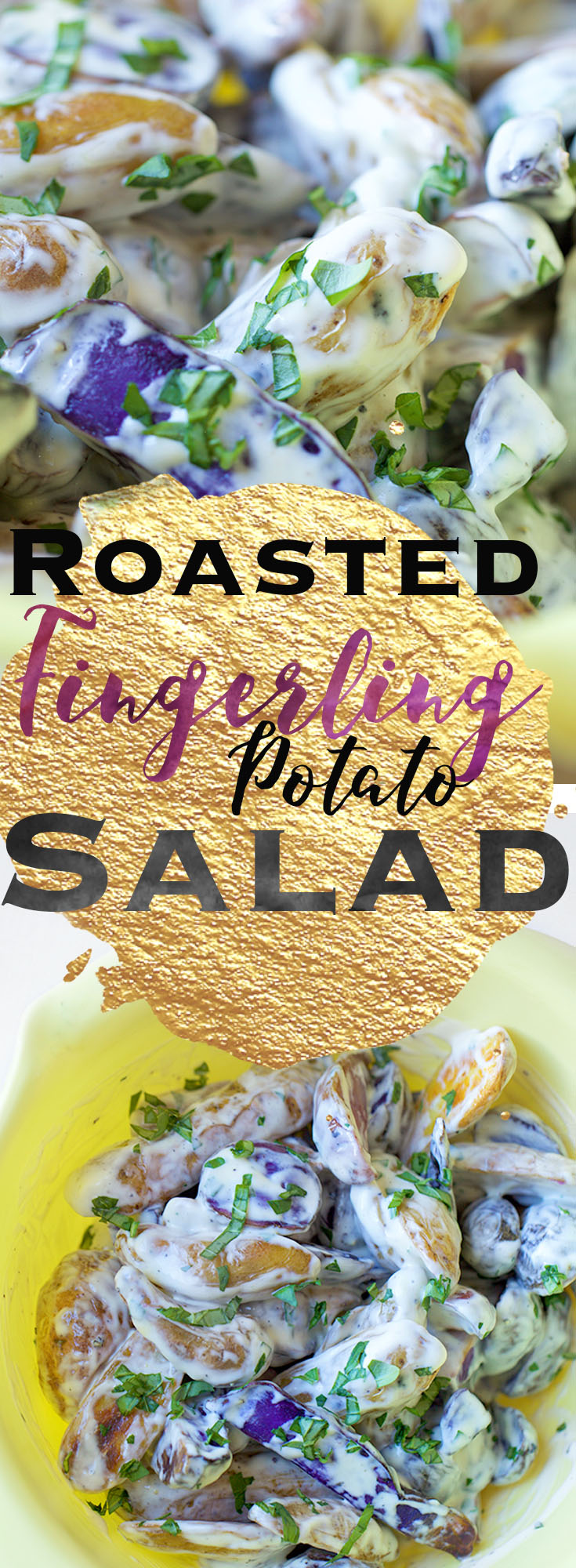 Roasted Fingerling Potato Salad || This Roasted Fingerling Potato Salad is the perfect side dish for all your summer barbecues this year!  A simple and easy recipe that combines a creamy, tangy, slightly sweet dressing with perfectly crisp potatoes. Perfect to make ahead! || www.withbutterandlove.com