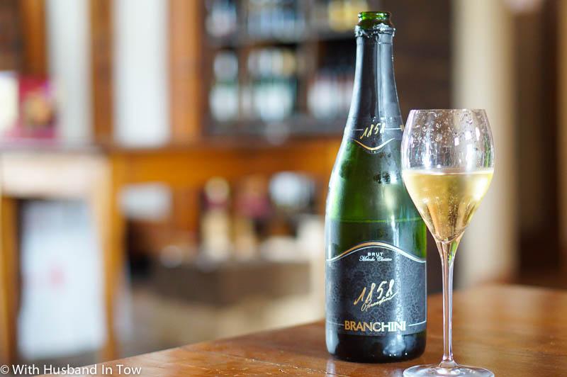 Tasting Albana sparkling wine at Branchini