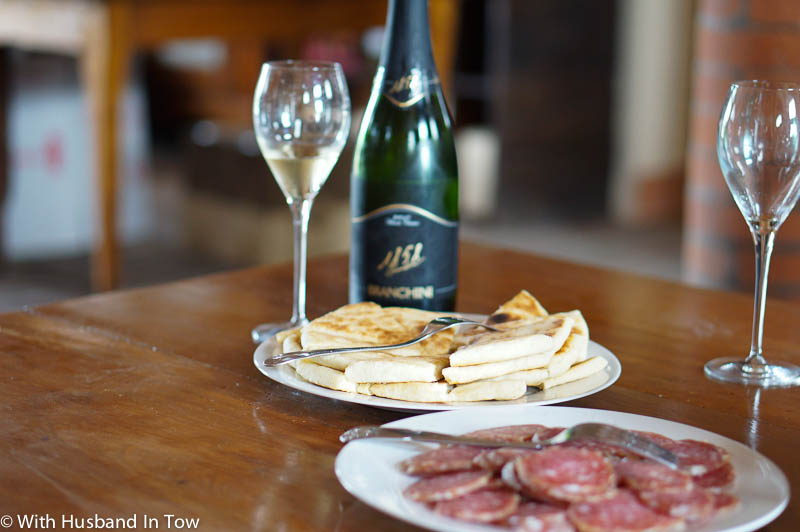 Tasting wine with some of Italy's best food piadina and cured meat