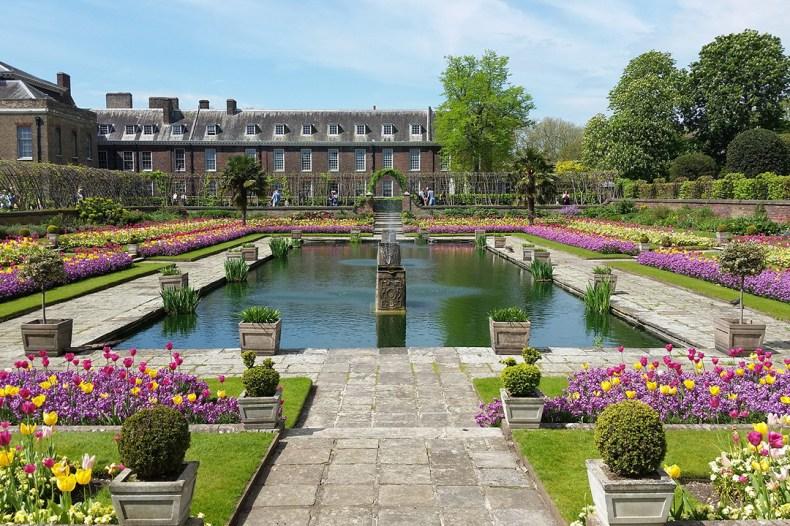 English garden with fountain