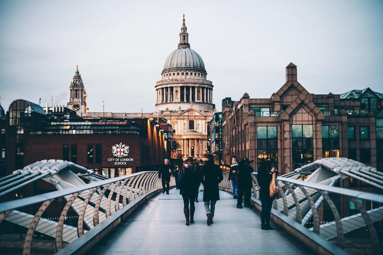 People walking across London pedway