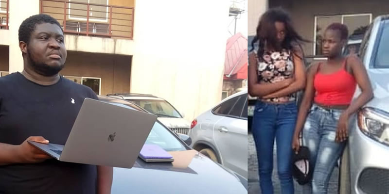 Four Yahoo Boys, 2 Girlfriends arrested in Port Harcourt hotel, three exotic cars seized (photos)