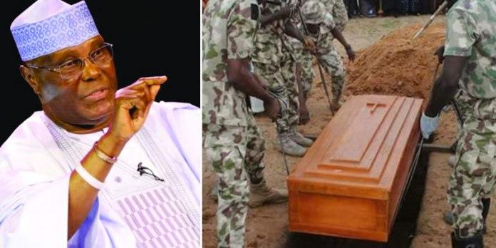 Image result for Alleged secret burial of soldiers: Atiku demands probe