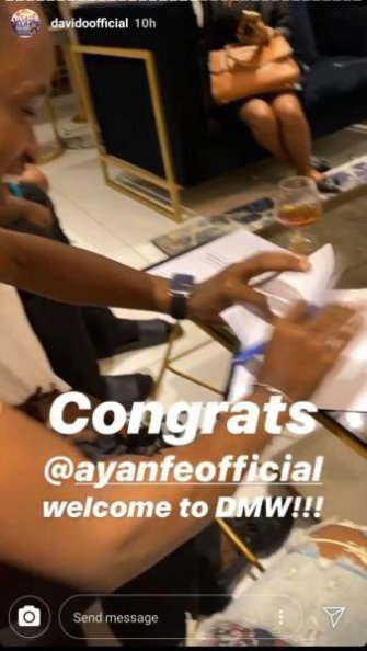 Image result for davido signs new artiste ayanfe