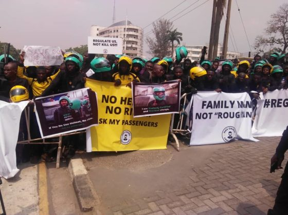 PHOTOS: Gokada, Max riders protest motorcycle ban in Lagos