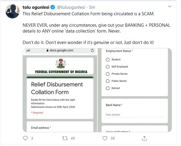 Fraud Alert: FGN Relief Disbursement Collation Form is a Scam
