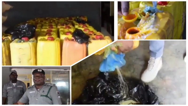 VIDEO: Custom officials intercept grains of rice concealed inside kegs and disguised as palm oil