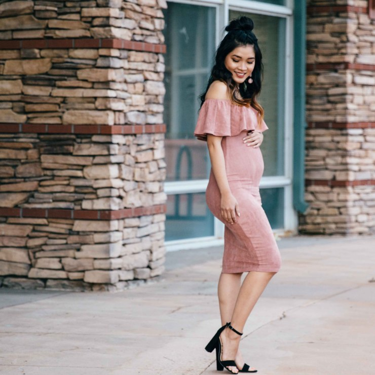blush suede off the shoulder dress