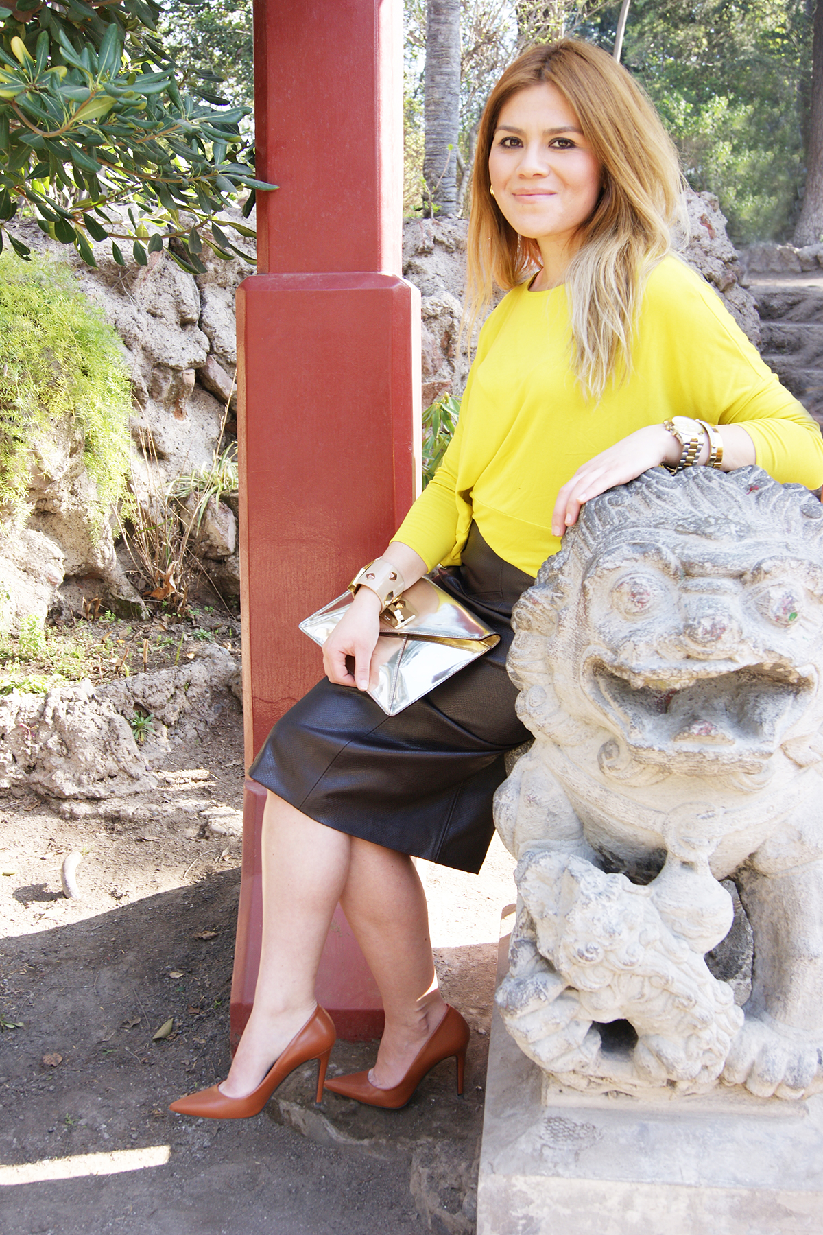 leather skirt and spring
