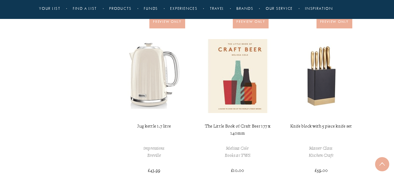 Wedding registry products
