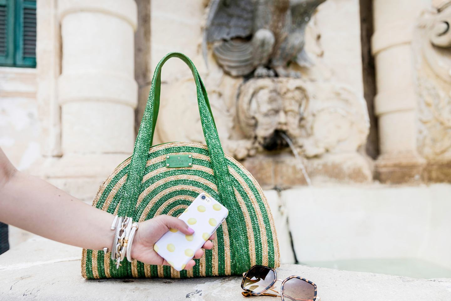 white dress with green bag