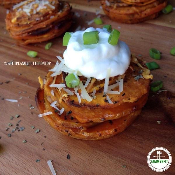 Garlic & Basil Sweet Potato Stacks