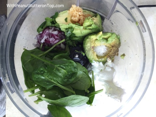 Greek Yogurt Spinach Guacamole | www.withpeanutbutterontop.com