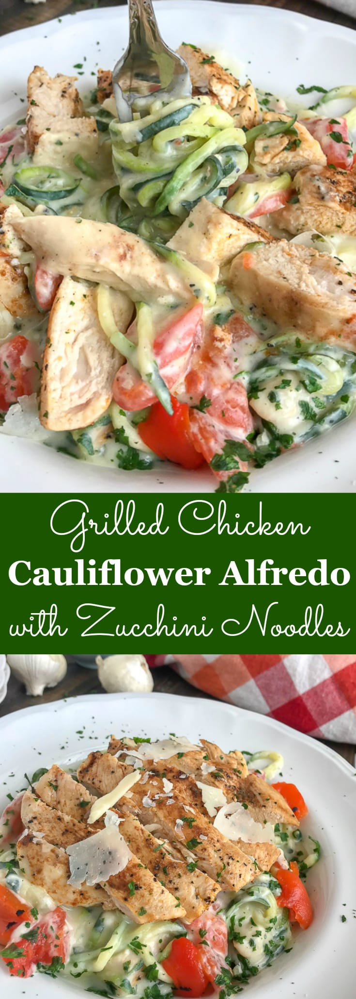 This Grilled Chicken Cauliflower Alfredo with Zucchini Noodles recipe has so much going for it as far as flavor, creaminess, and texture. If you're looking to enjoy a chicken Alfredo dish, but also want to cut back on calories - then this is the recipe for you coming in at under 275 calories per serving! #chicken #chickenalfredo #zucchini #zucchininoodles #zoodles #caulifloweralfredo #alfredo #healthy | https://withpeanutbutterontop.com